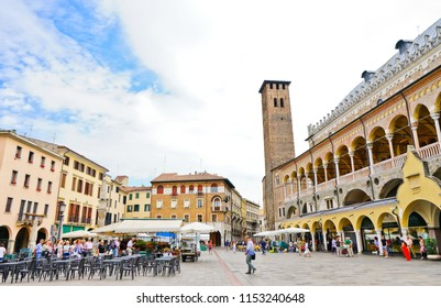 Padua, Italy - September 5, 2016 : View of the market at Piazza della Frutta in Padua, Italy on September 5, 2016. The square is one of the many plazas in the historic city of Padua.