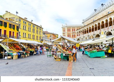 Padua, Italy - September 5, 2016 : View of the market at Piazza delle Erbe in Padua, Italy on September 5, 2016. The square is one of the many plazas in the historic city of Padua.