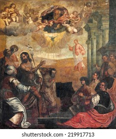 "PADUA, ITALY - SEPTEMBER 9, 2014: The ""ecce agnus dei"" (St. John the Baptist shows to Christ as the Redeemer). Painting in church Basilica del Carmine by unknown painter from 17. cent."