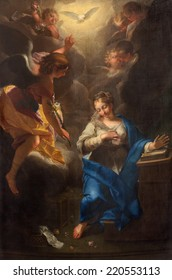 PADUA, ITALY - SEPTEMBER 9, 2014: The paint of Annunciation by Jean Raoux in the church Cathedral of Santa Maria Assunta (Duomo) from 18. cent.