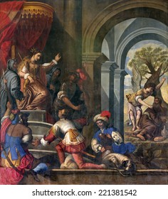 PADUA, ITALY - SEPTEMBER 9, 2014: Pain of Old Testamnet scene with prophet Elijah and  queen Jezebel in church Basilica del Carmine from 17. cent by unknown painter.