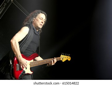 Padua Padova, PD, Italy - March 29, 2017: Franco Li Causi the bass player of Litfiba an Italian Rock Band on the stage during the live concert at Padua in Italy