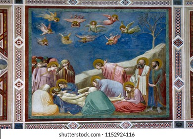 Padua, Veneto, Italy - 3 July 2016. Lamentation of Christ by Giotto di Bondone in the Capella Scrovegni, completed 1305. Famous early Renaissance, lively rendition of human emotion. Easter theme.
