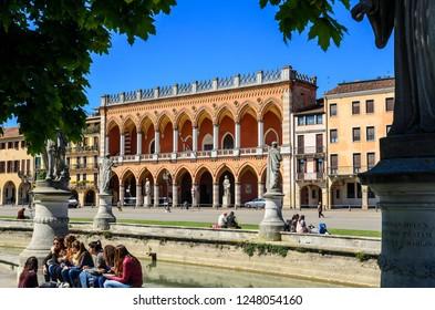 Padua/Italy/04.17.2014. The Amulea Lodge (Lodge Amulea) view from Prato della Valle