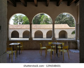 Padula, Salerno, Campania, Italy - August 5, 2018: Loggia of the Spezieria of the Certosa di San Lorenzo
