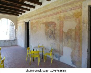 Padula, Salerno, Campania, Italy - August 5, 2018: Frescoes on the walls of the Loggia del Priore della Certosa di San Lorenzo