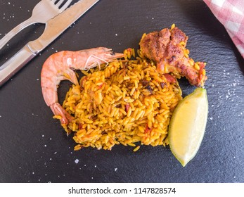 Paella with chicken and shrimp