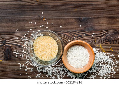 paella home cooking with rice for ingredients on wooden background top view space for text