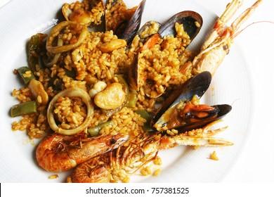 Paella, Spanish rice plate
