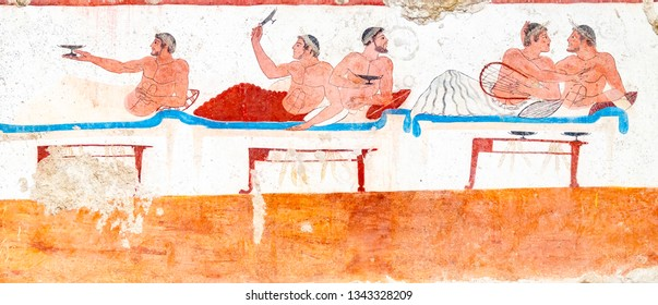 Paestum, ancient frescoes in the tomb of the diver