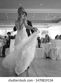 Paestum, Salerno, Italy - 24 June, 2019: First wedding dance of newlywed. Wedding day