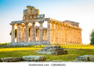 Paestum Temples Archaeological UNESCO World Heritage Site at sunset, Province of Salerno, Campania, Italy