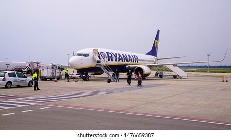 PAFOS, CYPRUS - April 7, 2019: Ryanair aircraft at the Pafos international airport