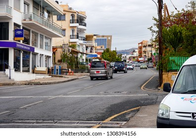 Pafos, Cyprus - October 22, 2015 Paphos street with buildings and cars.