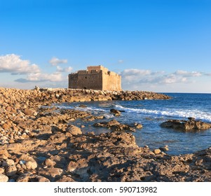 """Pafos Harbour Castle, also known as """"Turkish Castle"""" in Pathos, Cyprus. Panoramic image, text space"""