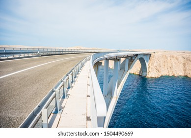 Pag Bridge - Paski bridge that connects the island of Pag to the Croatian mainland above an Adriatic Sea strait called Ljubacka vrata