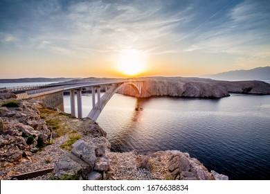 pag bridge at sunset, Island of Pag, Dalmatia, Croatia
