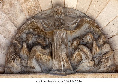 PAG, CROATIA - AUGUST 03, 2013: Protective mantle Madonna, statue on the portal of Church of the Assumption of the Virgin in Pag, Croatia