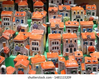 Pag, Croatia, August 15, 2019. Little houses, cute souvenirs that present imitation of traditional old Croatian stone houses characteristic in Dalmatia and island of Pag