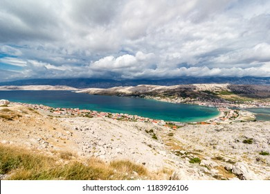 Pag island bay aerial view, Dalmatia, Croatia, Europe