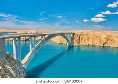 Pag island bridge in Croatia during a summers day with vibrant sea