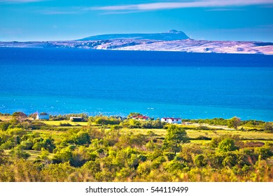 Pag island turquoise sea view, Dalmatia region of Croatia