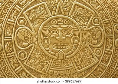 Pagan ornament of a tribe Maya. stone texture
