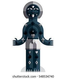 Pagan symbol illustration, spiritual cult theme. Modernistic drawing of a weird character. Flat design portrait isolated on white.