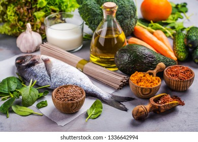 Pagano diet food assortment on stone table. Food for psoriasis disease. Copy space