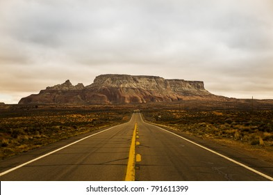 Page, Arizona - December 20, 2014: A view of Arizona Plateau in perspective with road.