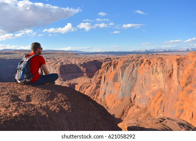 PAGE, AZ - NOVEMBER 1: Hikers at Horseshoe Bend on November 1, 2016 in Page AZ,USA. Thousands of people from all over the world come to visit this beautiful place every year.