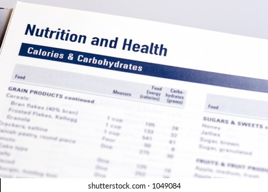 Page from a dayplanner showing the dietary sources, servings, and amounts of calories and carbohydrates found in ordinary foods.