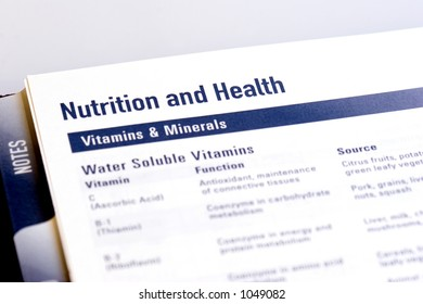 Page from a dayplanner showing the functions and dietary sources for vitamins and minerals.