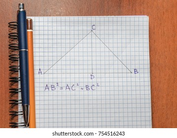 Page with formulas and the Pythagorean theorem with pen and pencil
