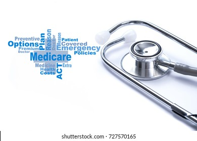 Page with Medicare word on the table with stethoscope, medical concept.