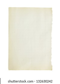 The page from a notebook isolated on a white background.