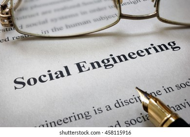 Page of paper with words Social Engineering
