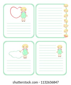 Page template with frame, cute smiling girl and ruling to letter. Raster clip art.