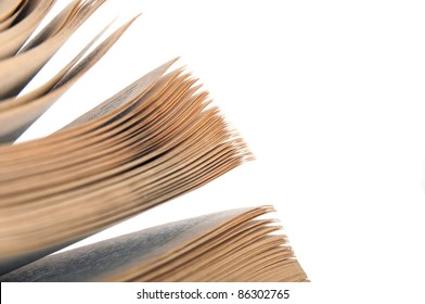 Pages of a book isolated on white background