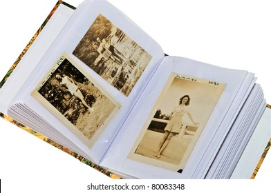 Pages of a photo album containing pictures from the year 1943, showing some summer scenes depicting the lifestyle.