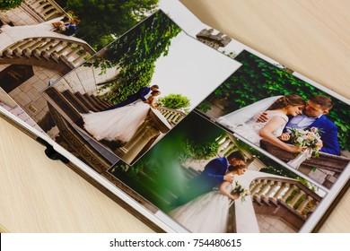 Pages of wedding photobook or wedding album on white background