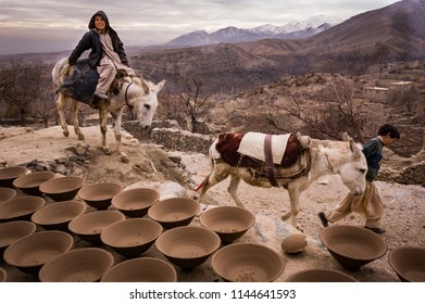 Paghman, Afghanistan, December 2014:  Clay pots dry outside Kabul