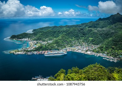 Pago Pago American Samoa Hill View over the Island and the Harbor with Cruise Ship docked.