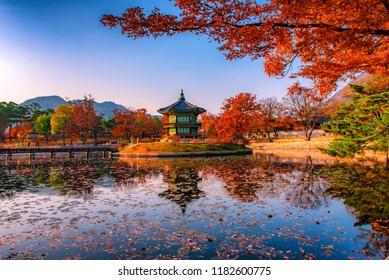 the pagoda in autumn at gyeongbokgung palace seoul south korea