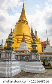 Pagoda of Buddhist temple in Bangkok in cloudy day, Religions of Asia