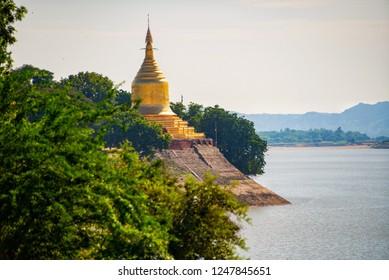 Pagoda by the River at Old Bagan, Myanmar