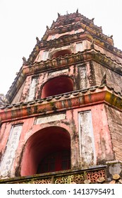 Chùa Thiên Mụ (Pagoda of the Celestial Lady, also called Linh Mụ Pagoda) , Huế, Vietnam. Its iconic seven-storey pagoda is regarded as the unofficial symbol of the city.]