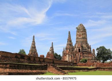 Pagoda in Chaiwattanaram temple at Ayutthaya Historical Park ,Thailand