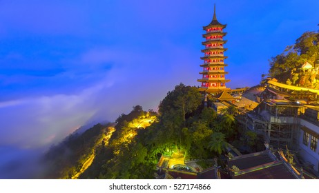 Pagoda at Chin Swee Temple, Genting Highland is a famous tourist attraction near Kuala Lumpur. During this photo shoot thick fog and the temperature is too cold.moment in blue hour