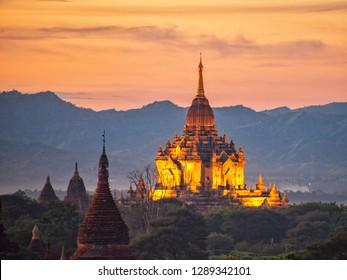 Pagoda and dusk at Old Bagan, Myanmar